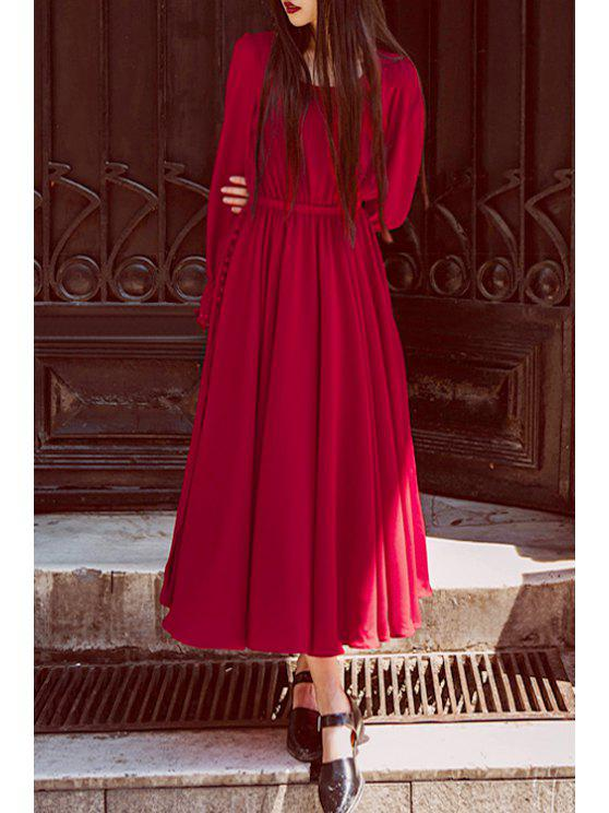 trendy Long Sleeve High Slit Red Dress - RED S
