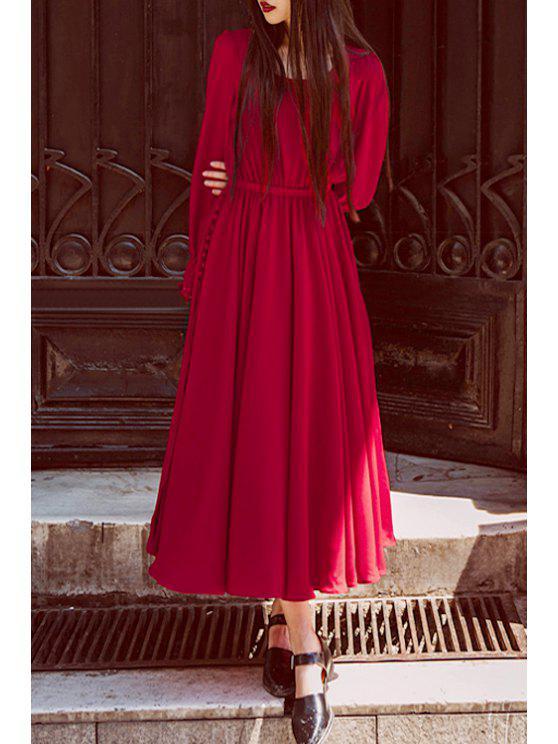 trendy Long Sleeve High Slit Red Dress - RED S