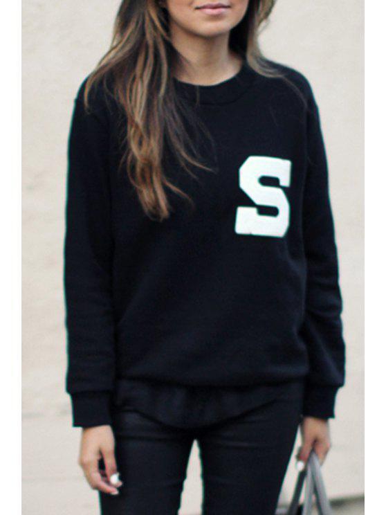 latest Letter S Pattern Round Neck Sweatshirt - BLACK S