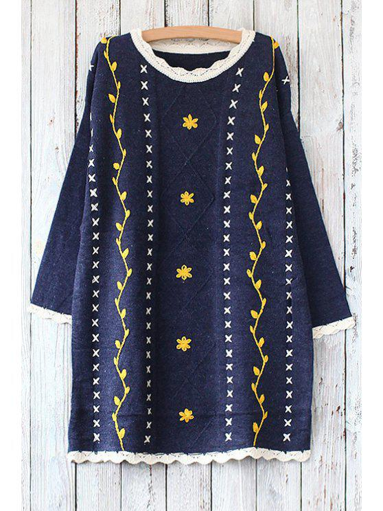 shops Round Collar Long Sleeves Embroidery Printed Pullover Sweater - PURPLISH BLUE ONE SIZE(FIT SIZE XS TO M)