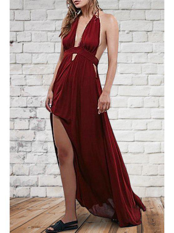 latest Solid Color Halterneck Maxi Dress - WINE RED S