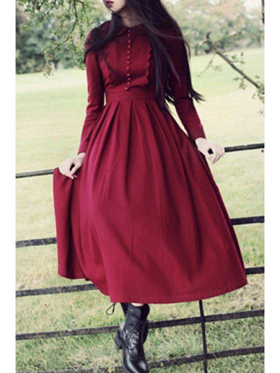 chic Peter Pan Collar Pleated Claret Dress - CLARET L