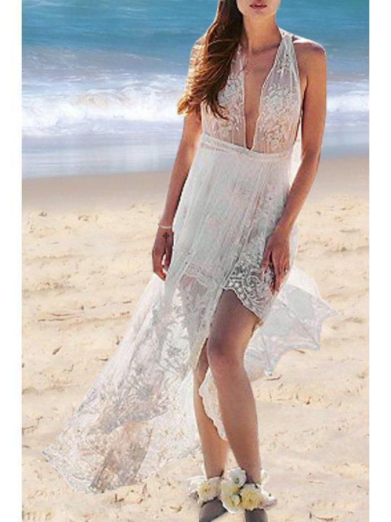 sale White Lace Plunging Neck Sleeveless Maxi Dress - WHITE S