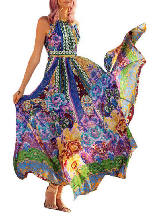 womens Floral Round Neck Sleeveless Backless Maxi Dress - DEEP BLUE S