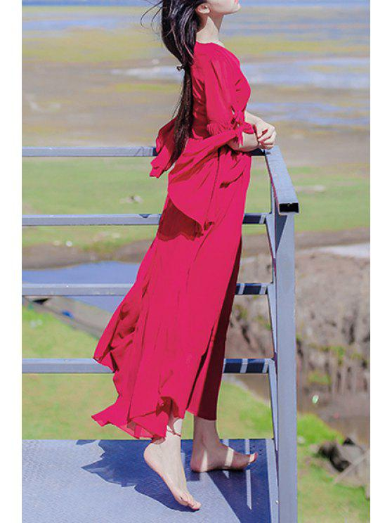 buy Bell Sleeve High-Waisted Red Dress - RED S