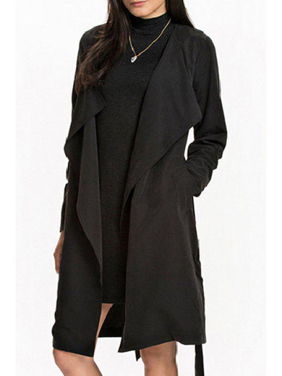 women Pocket Design Self-Tie Belt Trench Coat - BLACK S