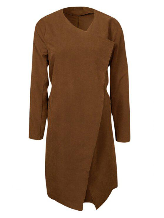 Pocket Design Auto-Tie Cinto Trench Coat - Café S