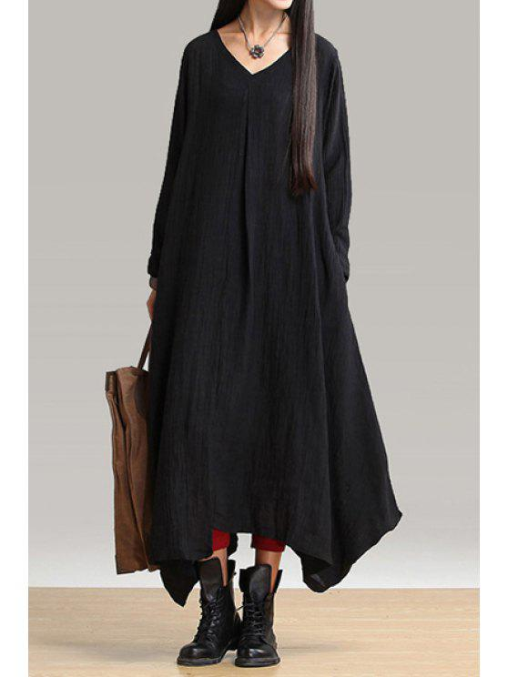 shop Long Sleeve Loose-Fitting Linen Dress - BLACK ONE SIZE(FIT SIZE XS TO M)