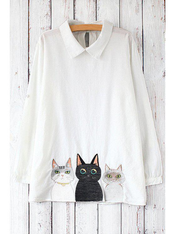 unique Cartoon Cat Embroidery Flat Collar Long Sleeves Shirt - WHITE ONE SIZE(FIT SIZE XS TO M)