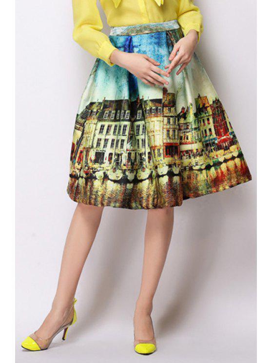 chic A-Line Scenery Print Midi Skirt - YELLOW 2XL