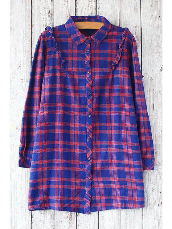 womens Checked Flat Collar Long Sleeves Shirt - BLUE AND PINK ONE SIZE(FIT SIZE XS TO M)