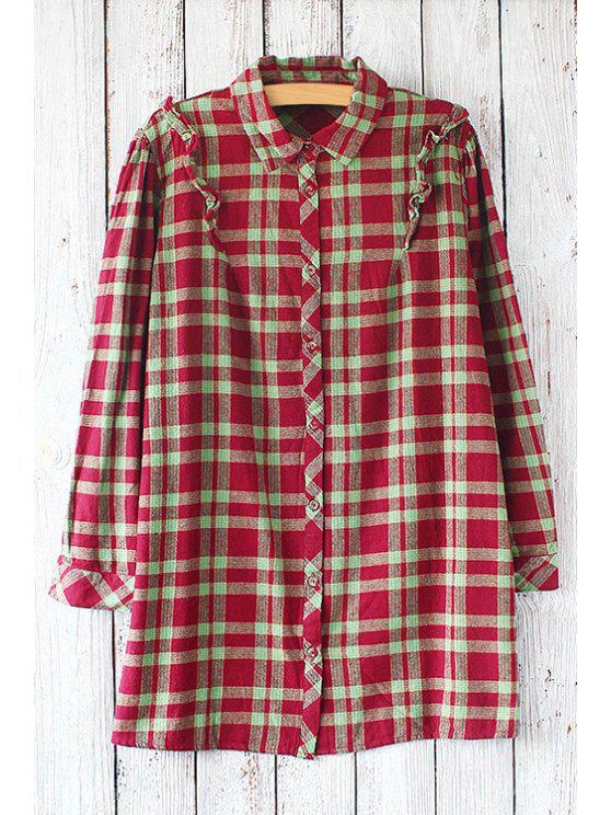 ladies Checked Flat Collar Long Sleeves Shirt - RED AND GREEN ONE SIZE(FIT SIZE XS TO M)