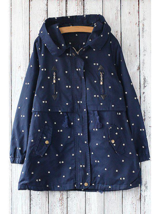 lady Printed Zipper Hooded Long Sleeves Trench Coat - BLUE ONE SIZE(FIT SIZE XS TO M)