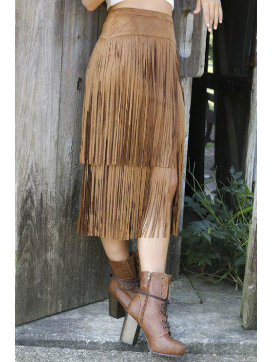 Tassels Splicing High Waisted Jupe - Brun M