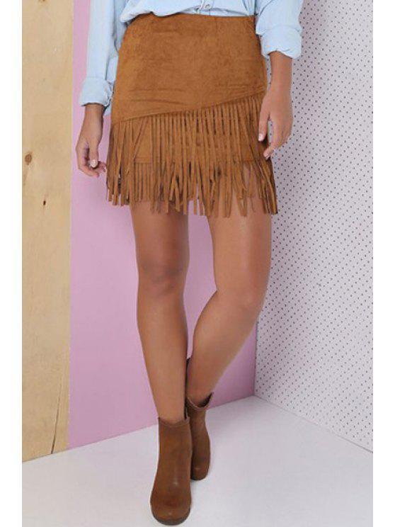 women Khaki Tassels Spliced High Waisted Skirt - KHAKI S