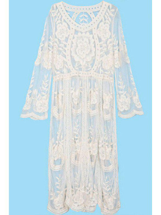 fashion See-Through Embroidery Lace Dress - OFF-WHITE ONE SIZE(FIT SIZE XS TO M)