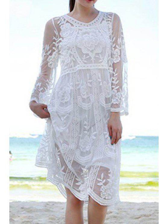 latest See-Through Embroidery Lace Dress - WHITE ONE SIZE(FIT SIZE XS TO M)