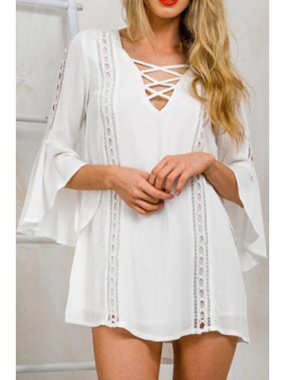 latest White V Neck 3/4 Sleeve Dress - WHITE S