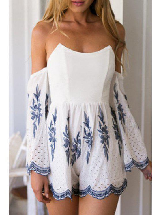 online Embroidered Slash Neck Long Sleeve Playsuit - WHITE S