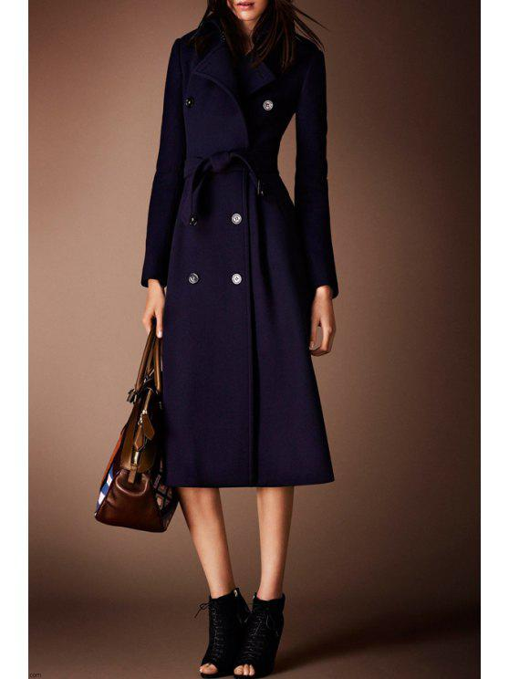 latest Blue Double-Breasted Wool Coat With Belt - BLUE S