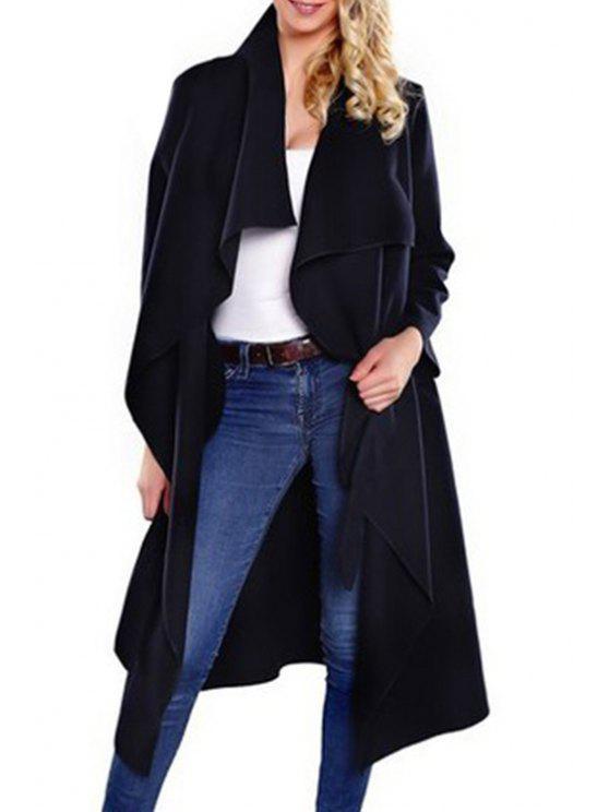 unique Large Lapel Self-Tie Belt Wool Coat - BLACK S