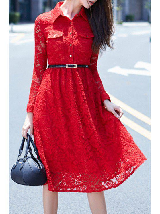 new Crochet Flower Red Lace Dress With Belt - RED S