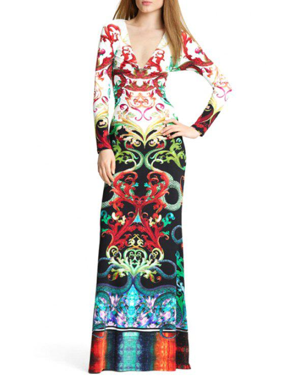 hot Retro Print Plunging Neck Long Sleeves Maxi Dress - COLORMIX S