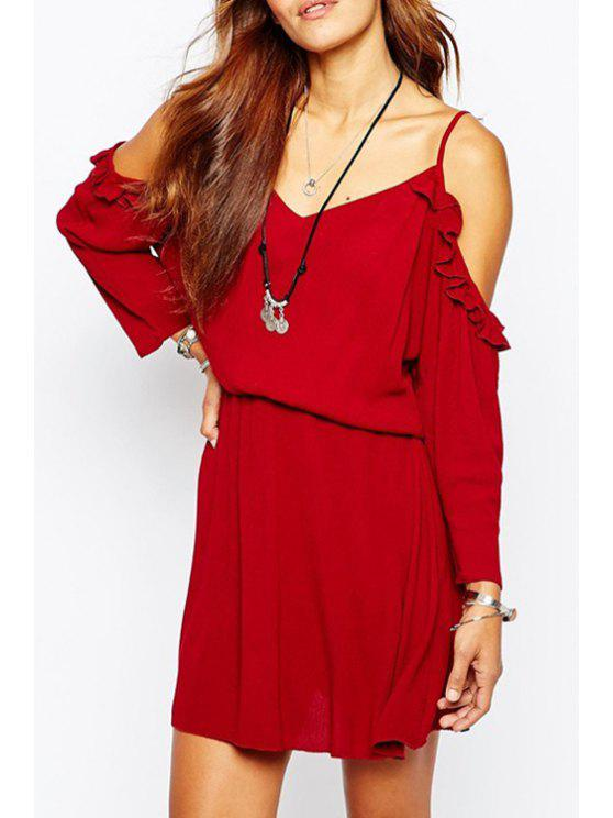 latest Spaghetti Strap Ruffled Red Dress - RED S