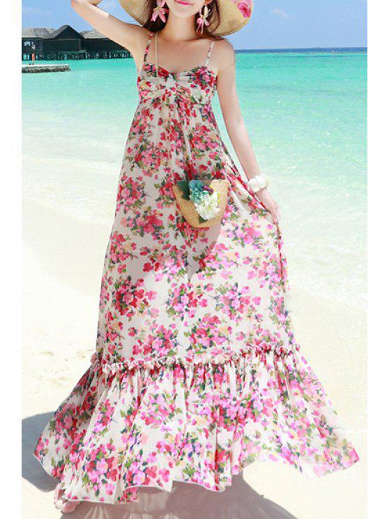 women Sleeveless Flower Print Chiffon Dress - WHITE M