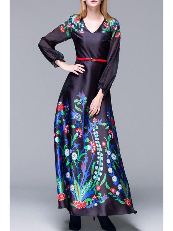latest Printed V-Neck Long Lantern Sleeves Maxi Dress - BLACK M