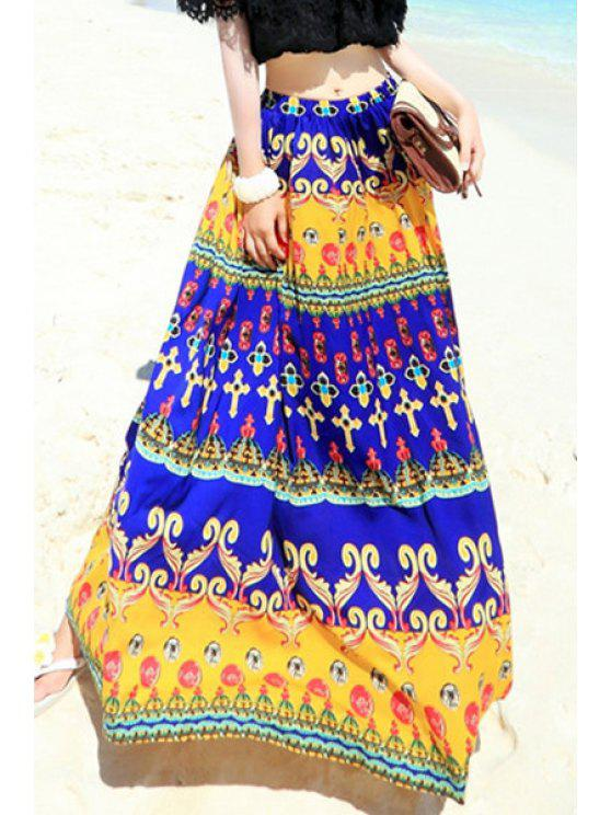 best High-Waisted Ethnic Print Long Skirt - BLUE AND YELLOW S