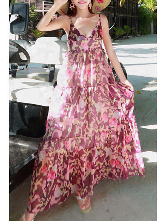 ladies Sleeveless Purple Leopard Chiffon Dress - PURPLE ONE SIZE(FIT SIZE XS TO M)