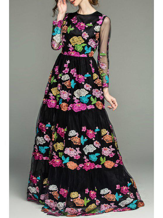 lady Floral Embroidered See-Through Prom Dress - BLACK S