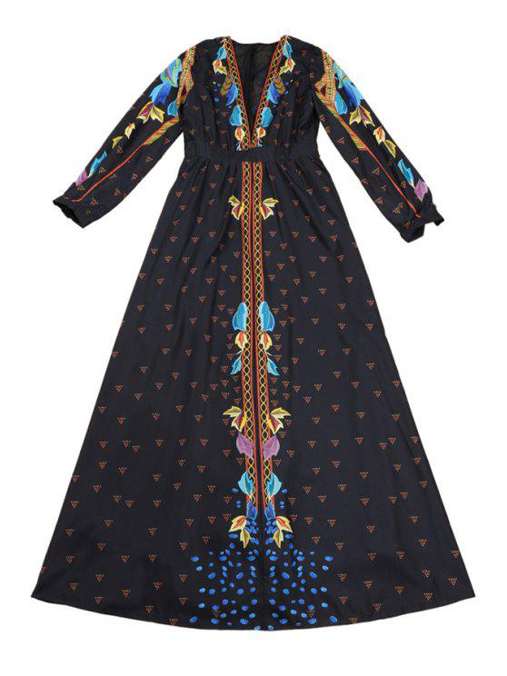 sale Plunging Neck Long Sleeves Retro Print Maxi Dress - BLACK S