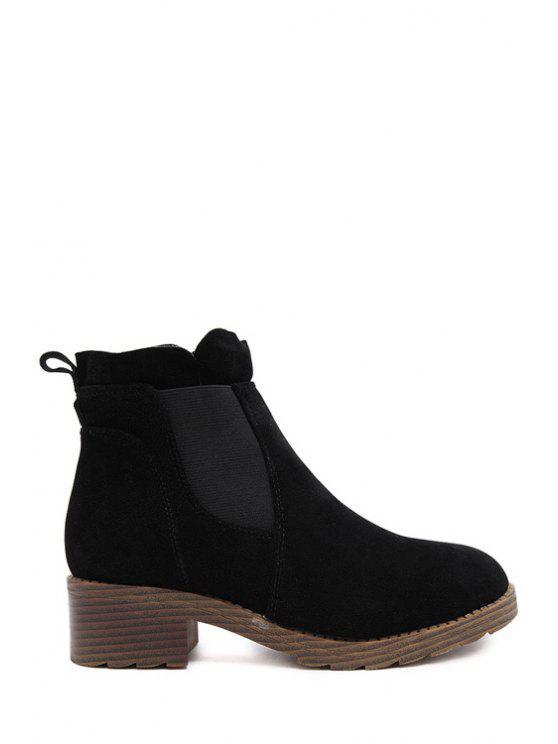 ladies Elastic Platform Pure Color Short Boots - BLACK 39