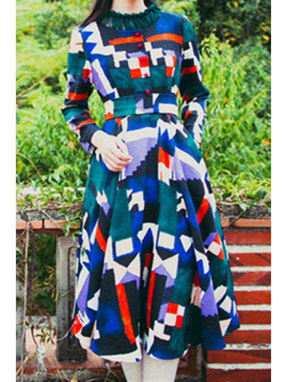 shops Long Sleeve Colorful Geometric Print Dress - BLACKISH GREEN S