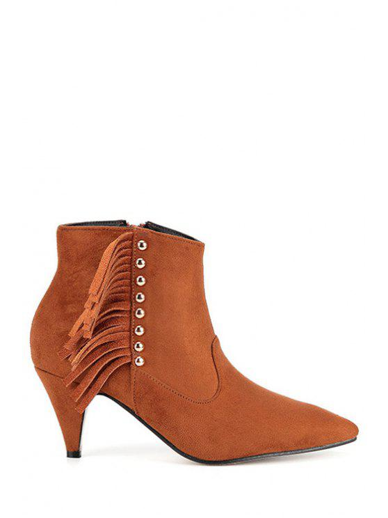 outfit Metallic Rivets Fringe Zipper Ankle Boots - BROWN 35