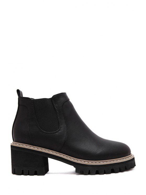 women Elastic Platform Pure Color Ankle Boots - BLACK 35