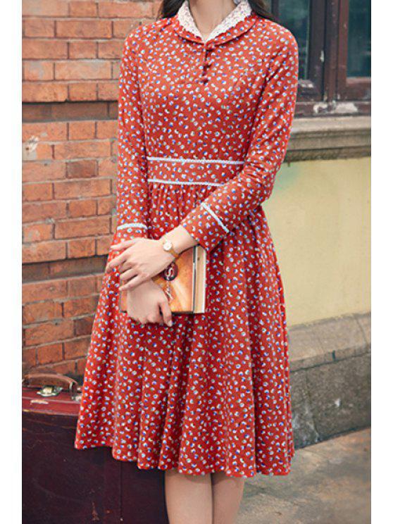 chic Tiny Floral Turn Down Collar Long Sleeve Dress - JACINTH S