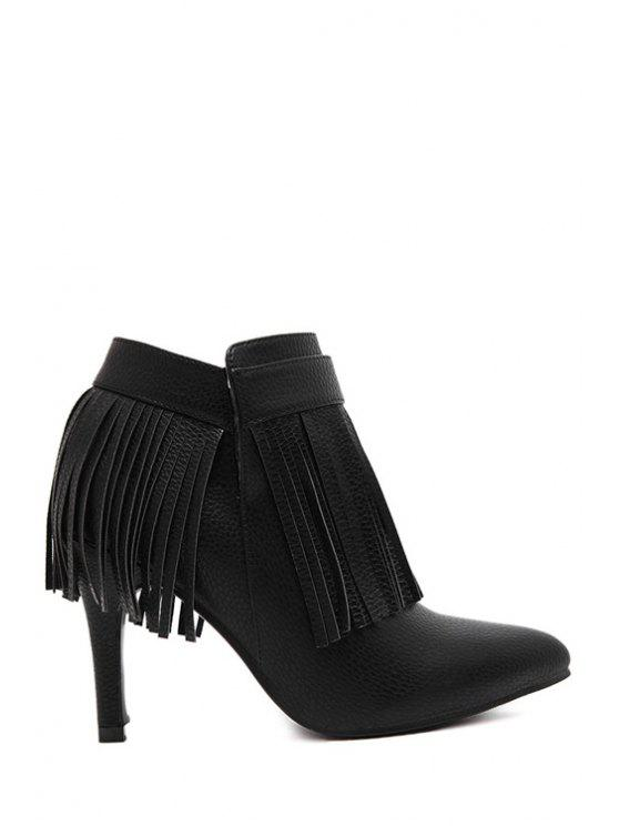 online Fringe Stiletto Black Ankle Boots - BLACK 34