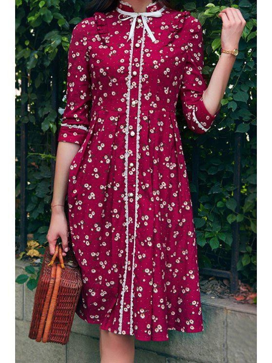 affordable Tiny Floral Stand Neck 3/4 Sleeve Dress - RED S