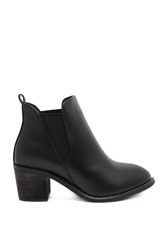 women's Elastic Pointed Toe Pure Color Ankle Boots - BLACK 34