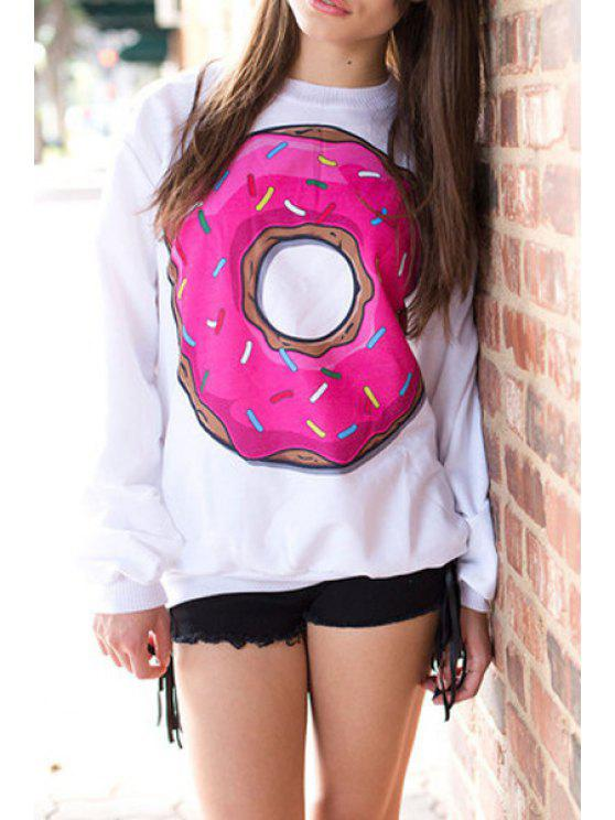 lady Big Donut Print White Sweatshirt - WHITE ONE SIZE(FIT SIZE XS TO M)