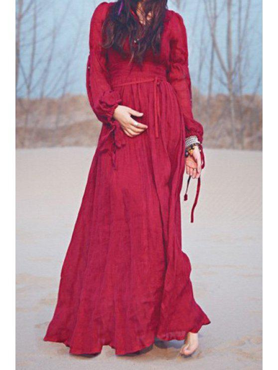 women's Wine Red Plunging Neck Long Sleeve Maxi Dress - WINE RED S