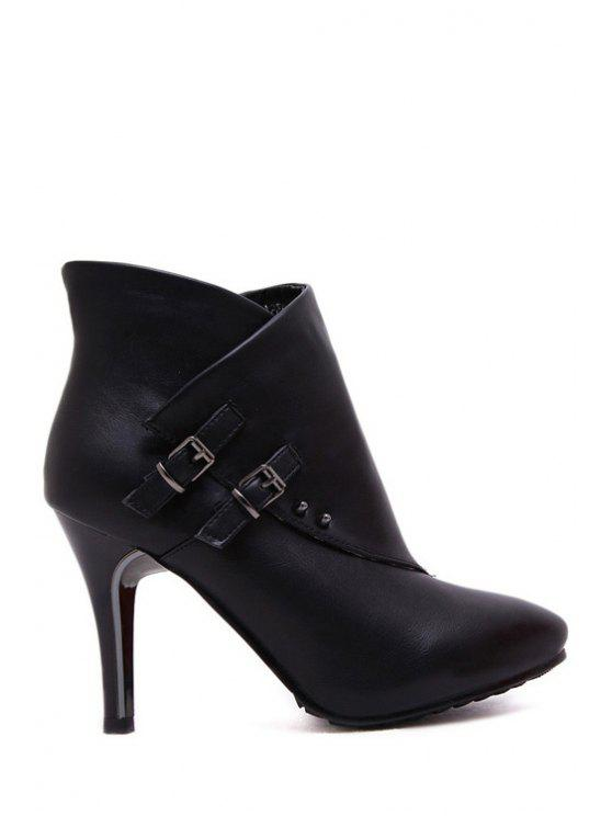 women's Buckles Zipper Pure Color High Heel Boots - BLACK 38