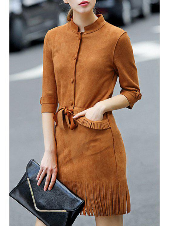 fancy Faux Suede 3/4 Sleeves Solid Color Tassels Dress - BROWN S