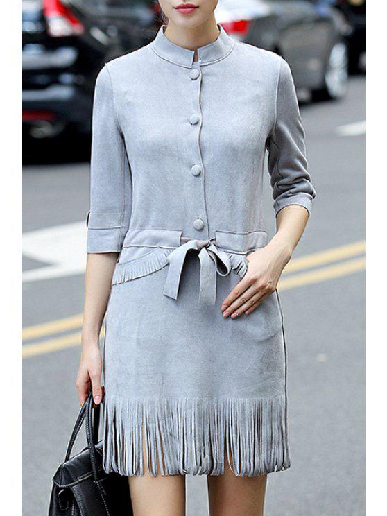 best Faux Suede 3/4 Sleeves Solid Color Tassels Dress - GRAY L
