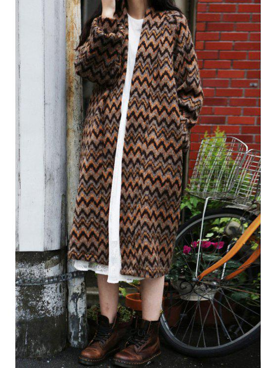 fashion Zig Zag Long Sleeve Long Cardigan - AS THE PICTURE S
