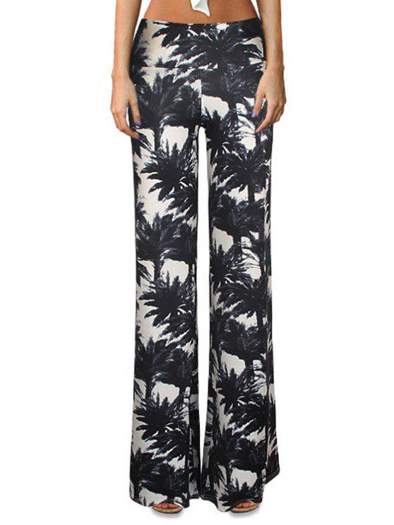 hot Tropical Print Flare Yoga Pants - WHITE AND BLACK S