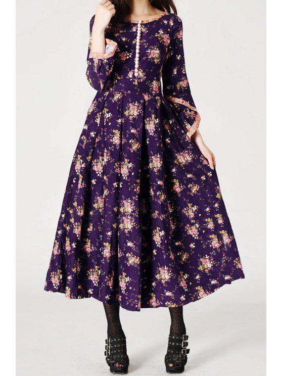 women's Tiny Floral Boat Neck 3/4 Sleeve Dress - PURPLE S
